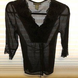 Banana Republic Lovely Black Sequin Lace Blouse L